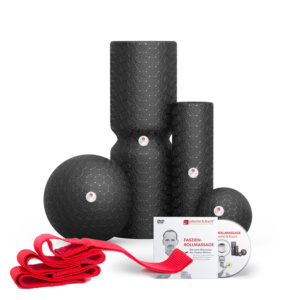 Medi-Rolle 98 x 278 mm, Mini-Rolle 53 x 180 mm, Medi-Kugel 115 mm Durchmesser, Mini-Kugel 72 mm Durchmesser sowie eine Übungsschlaufe zum individuellen Trainingseinsatz und die DVD mit Anleitung und Schmerzzuordnung