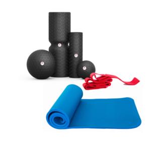 Das grosse Faszien-Training-Set bestehend aus einer qualitativ hochwertigen Fitnessmatte, 4 verschiedenen Rollen, inklusive DVD und der hilfreichen Übungsschlaufe.