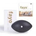 Abbildung der fayo® Kugelrolle, gemeinsam mit der Verpackung sowie der Trainings-DVD