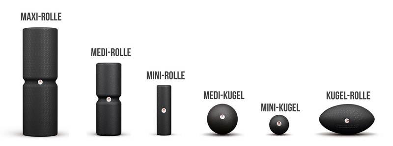 einfache Übersicht der aktuellen Faszienroll – Tools von Liebscher&Bracht