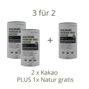 Jetzt VitalShake bestellen - 2x Natur kaufen - 1x Kakao gratis dazu