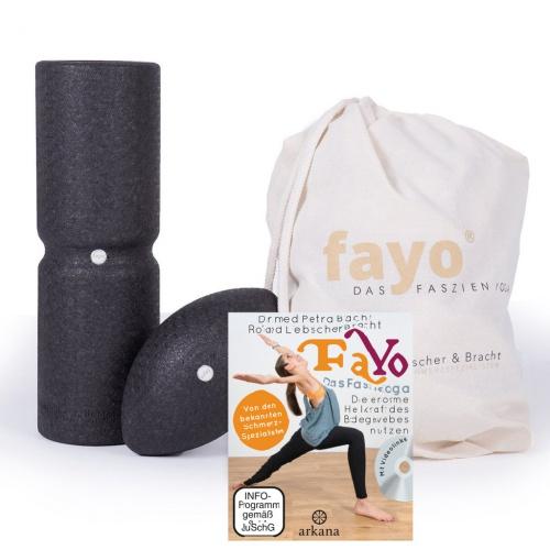 fayo® Faszien KOMBI Set für Faszien Yoga, inkl. Buch mit Übungs-DVD - für ein effizientes Training Zuhause und zur Therapie.