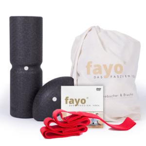 fayo-Faszien-Set START, das 2er Set für Yoga und Fitness – Faszienrolle mit Wirbelsäulenentlastung in Ganzkörperbreite plus Kugel-Rolle – erweiterte Anwendungen zur Steigerung der Rolleffekte