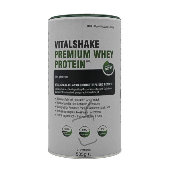 VitalShake Whey Protein HFQ Natur. Molkeprotein mit neutralem Geschmack. 100% vegetarisch, frei von Gluten & Soja